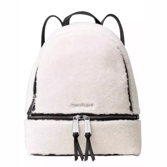 Michael Kors Handbags - Michael Kors Rhea Med Leather Fur Black & White